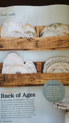 New Kitchen Shelves Vintage Plate Racks Ideas Wooden Plate Rack, Plate Rack Wall, Diy Plate Rack, Plate Shelves, Wooden Plates, Vintage Plates, Plates On Wall, Plate Racks In Kitchen, Kitchen Shelves