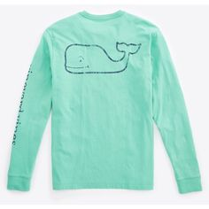 Shop Long-Sleeve Vintage Graphic T-Shirt at vineyard vines ($42) ❤ liked on Polyvore featuring tops, t-shirts, shirts, long sleeve shirts, green t shirt, cotton t shirt, long sleeve cotton shirt and green long sleeve shirt