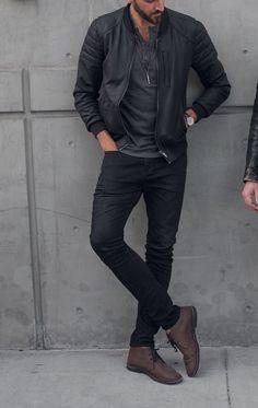 3fa2e8e12052 Dark tones- black jeans brown boots - leather bomber jacket Men s Casual  Fashion