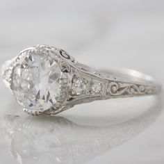 Vintage 4 Prong Engagement Ring - Diamond & Platinum | Victor Barbone