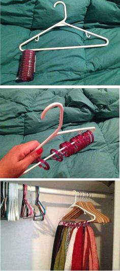 DIY Scarf Storage - 36 Fantastic Ideas To Decorate Dorm Room Feel Like Home
