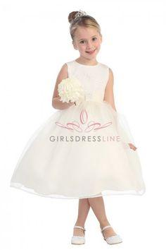 Ivory+Classic+Organza+Girl+Dress+with+Brilliant+Sparkles+TT-5542-IV+on+www.GirlsDressLine.Com