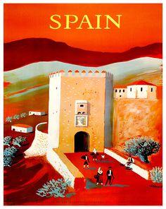 Spain Travel Poster Spanish Wall Art Print Home by Blivingstons