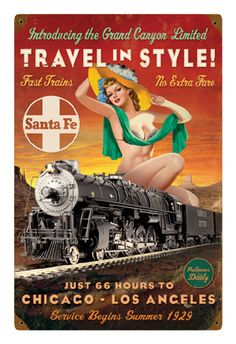 """Travel in Style"" Pin-Up Metal Sign-Historic Rail"