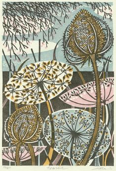 More Angie Lewin - fascinating fact . . . she uses a wooden spoon to burnish her designs which she prints onto Japanese paper (this absorbs the ink well)