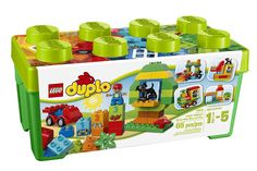 Lego Duplo sets give toddlers the chance play safely in the Lego world and spark their imagination. Starter set: LEGO DUPLO All-in-One-Box-of-Fun, steam train: LEGO DUPLO My First Number Train. Preschool Toys, Toddler Preschool, Toddler Toys, Kids Toys, Lego Store, Shop Lego, Lego Technic, Lego Sets, Duplo Box
