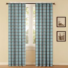 blue brown curtains | ... 84-in L Thermal Plaid Chocolate u0026 Blue