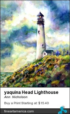 Yaquina Head Lighthouse Painting by Ann Nicholson Easy Watercolor, Watercolor Artwork, Watercolor Landscape, Landscape Paintings, Landscapes, Lighthouse Painting, Lighthouse Pictures, Image Nature, Images Vintage