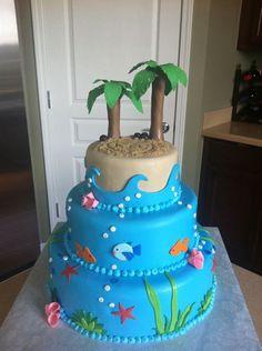 Beach cake - pearls along the edges