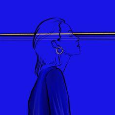 #abstractart #digitalart #illustration #comicart #stripes #woman #color #dust #smoking #comic #80ies #body #stroke #yellow #blue #julie