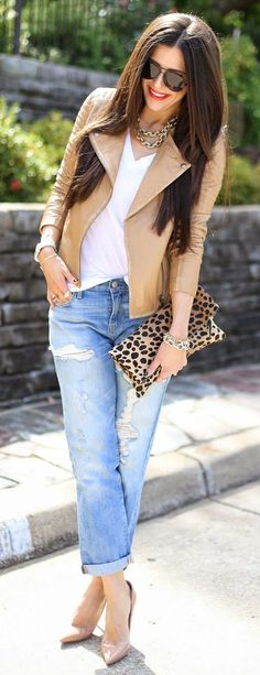 A camel moto jacket, white tee and boyfriend jeans pair together for the perfect transitional outfit! Wear this look all spring season.