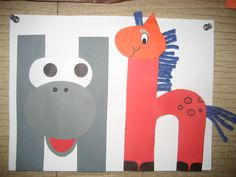 """Hh"" Letter of the week art project ~ Hippopotamus and horse"