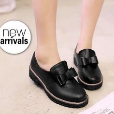 c15facd16e Round Toe Bow Women Pumps Loafers Low Chunky Heels 1002