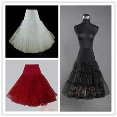 Black/Red/White/Ivory 50s Rock Wedding PROM Petticoats Bridal Accessories Slip