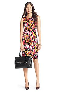 Selene Ruched Silk Jersey Dress in Ink Leopard Simple Pink by DVF