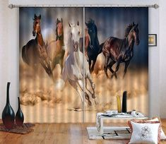 Run Horses 3 Blockout Photo Curtain Printing Curtains Drapes Fabric Window AU 3d Curtains, Printed Curtains, Koi Fish Pond, Running Horses, Iron Beads, Beach Landscape, Europe Photos, Bathroom Wallpaper, Draped Fabric