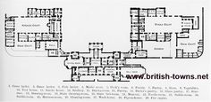 A large lithograph image dated around 1890 of Ground Plan of Floors Castle in Kelso, UK.