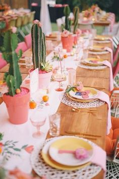 Real Wedding: Katie + Brian — amorology Fiesta Centerpieces, Mexican Wedding Centerpieces, Mexican Centerpiece, Pink Table Decorations, Centerpiece Ideas, Cactus Centerpiece, Katie Leclerc, Wedding Colors, Wedding Themes