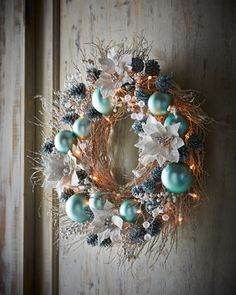 """Ice+Blue+&+Silver+Pre-Lit+28""""+Christmas+Wreath+at+Neiman+Marcus."""