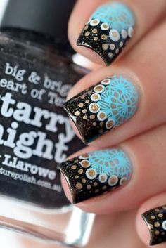 Turquoise and Black Reverse reversed stamping nail art with gold accents #ReverseStampndtrvvh