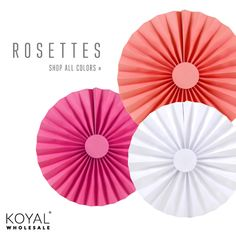 small to extra large size paper fan rosettes; add some extra pop of color to your special event (KoyalWholesale has an large color collection of small, medium and large paper rosettes)  Save yourself the time!