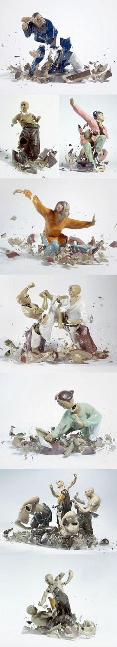 Kung Fu Porcelain. Not sure the name of the artist/photographer but these are amazing stills captured at the moment of impact. Great aesthetics.