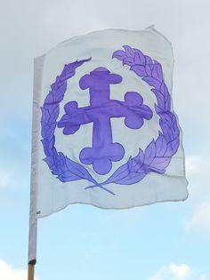 St Florian da la riviere banner. Hand painted silk banner for the SCA by Elizabet Hunter, Lochac.