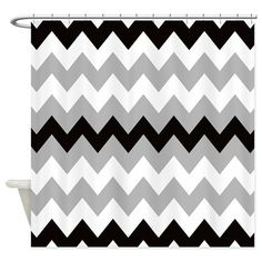 Black Gray and White Stripe Shower Curtain on CafePress.com