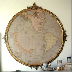 old map, old frame, round and perfect