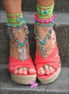 NEON green BAREFOOT sandals LEAF Toe anklets Woodland Fairy Tribal Anklet Sandals Gypsy sole less shoes Crochet sandals Bikini jewelry