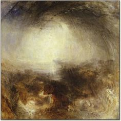 Shade and Darkness - The Evening Before the Deluge, J.W.M. Turner, 1843. The dark sky and seething waters of the Biblical flood are swept into a swirling mass of blacks and purples, surrounding a pool of contasting yellow in the distance.