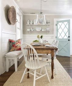 """This is PERFECTION! SO """"Jen!"""" """"This dining space is just so beautiful! I just love that gorgeous blue cottage door, not to mention how that stunning table is made from…"""" Cottage Dining Rooms, Dining Room Walls, Gray Kitchen Walls, Rooms Ideas, Sweet Home, Cottage Door, Diy Casa, Country Farmhouse Decor, Country Charm"""