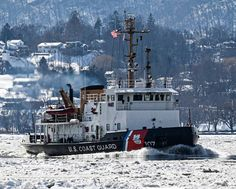 U.S. Coast Guard Cutter Penobscot Bay, a 140-foot bay-class icebreaking tug, breaks ice on the Hudson River in support of Operation Reliable Energy for Northeast Winters. Coast Guard Cutter, Us Coast Guard, Patriotic Poems, Hudson River, United States, Military, Ice, America, Ice Cream