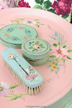 Vintage Home Shop - Pretty Vintage Painted Vanity Accessories on a 1930s Floral Painted Tray: www.vintage-home.co.uk
