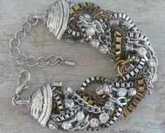 Vintage Multi Strand Twisted Chain Bracelet with Rhinestones. $16.00, via Etsy.