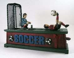 Vintage Soccer cast iron Mechanical Coin Bank by relictreasures