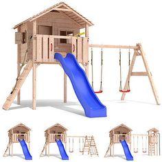 FRIDOLINO Spielturm Baumhaus Stelzenhaus Schaukel Kletterturm Rutsche Holz - ennovy namleips - Re-Wilding Backyard Fort, Backyard Playset, Backyard Playhouse, Backyard For Kids, Kids Outdoor Playground, Playground Ideas, Pallet Kids, Kids Yard, Tree House Plans