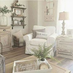 those shelves would be nice above toilet in bathroom? #Frenchcountrydecorating #FarmhouseLamp
