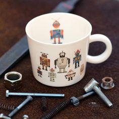 Husband Mug, Dad Cup, Robot Mug, Gift For Him, Mens Gift, Porcelain Coffee Mug, Ceramic Tea Cup, Custom Pottery, Personalized Cup, Big Mug
