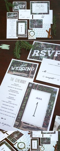 Retro Woodsy Wedding Invitations Suite & Day-of Stationery by Emily Crawford | Elli.com