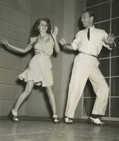"""Rita Hayworth and Fred Astaire rehearsing on the set of """"You Were Never Lovelier"""" (1942)"""