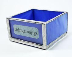Blue Glass Desk Tray, Small Organizer Box, Catch All Desk Accessory, Office Organizer, Desk Organizer, Office Accessory, Desktop Decor