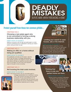 10 Deadly Mistakes Buyers Make When Purchasing a Home  Catherine Moody, Realty Executives, 865-599-8780 or 865-688-3232, cmoodyhomes@live.com