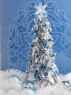 Craft a Blue-and-Silver Christmas Tabletop Tree (could use more natural colors instead of silver/blue)