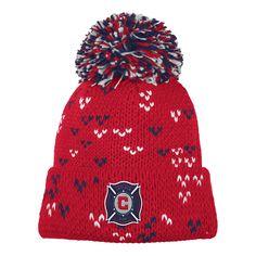 b35084bfb83c23 adidas MLS Chicago Fire Women's Fan Wear Cuffed Pom Knit Beanie, $19.14
