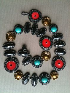 Necklace: Asymmetrical Bead Embroidered With Red by JekaLambert