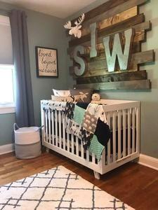 Woodland Boy Crib Bedding- Navy Buck, Moose, Bear, Fletching Arrow, Mint, and Navy