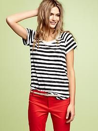 Black and White Stripes with Red Pants.