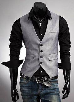 Winter New Men's Fashion Boutique vest Slim dark gray Vest Men's casual Vest Stylish Waistcoats, Dandy Look, Stylish Men, Men Casual, Stylish Clothes, Urban Look, Mode Man, Herren Outfit, Mens Fashion