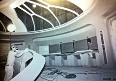 Prop Maker Jim Woods working on the Enterprise D bridge set, 1987.
